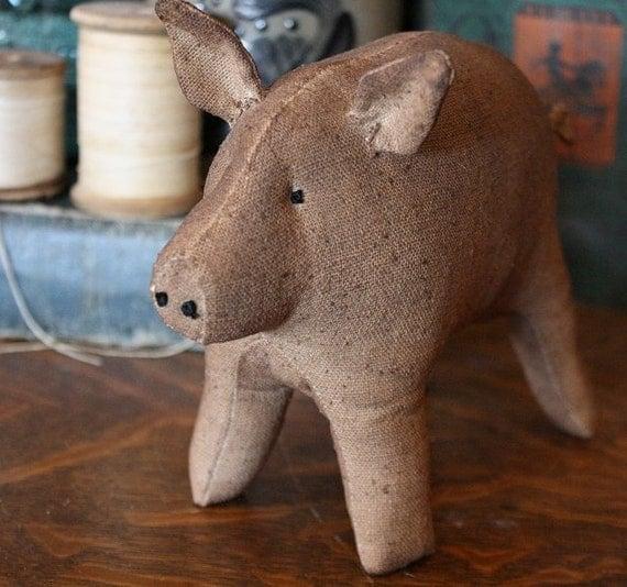 Primitive Folk Art Simple Pig E-Pattern