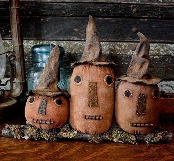 Primitive Folk Art Halloween Witch Pumpkin Shelf Sitter E-PATTERN