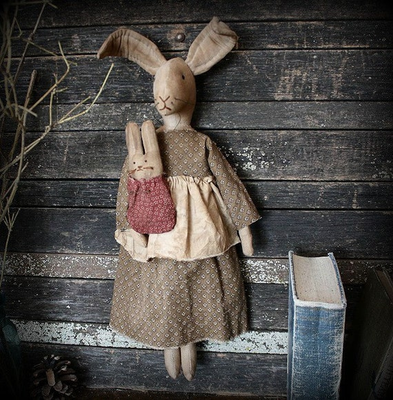 Primitive Easter Folk Art Mama Bunny Rabbit and Baby Doll E-Pattern