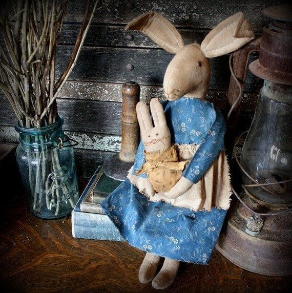 Primitive Folk Art Mama Bunny Rabbit and Baby Doll-Civil War Reproduction Fabric