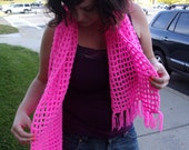 HOT neon pink Fringed Scarf