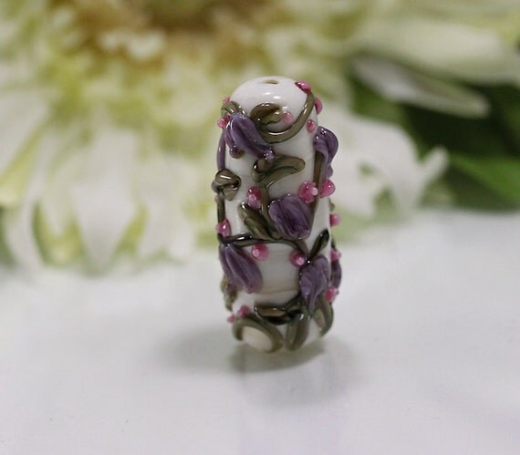 Lampwork Glass Focal, Ivory, Purple, Pink, Floral, Trailing Garden Free Shipping US