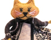 Allie Cat Art Doll, Hand Embroidered