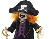 Pirate Skeleton Art Doll, Captain Skully, Hand Embroidered