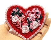 Floral Heart Brooch, Silk Ribbon Embroidery, Handmade