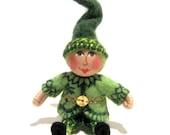 Miniature Leprechaun Art Doll, Hand Embroidered