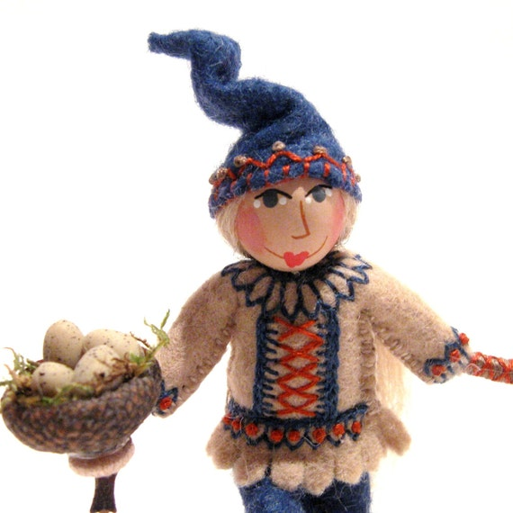 Woodland Gnome Art Doll, Hand Embroidered