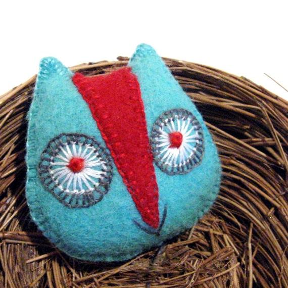 Handmade Owl Brooch in Red and Aqua Wool Felt