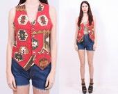 SALE - 70s Rust Aztec Vest