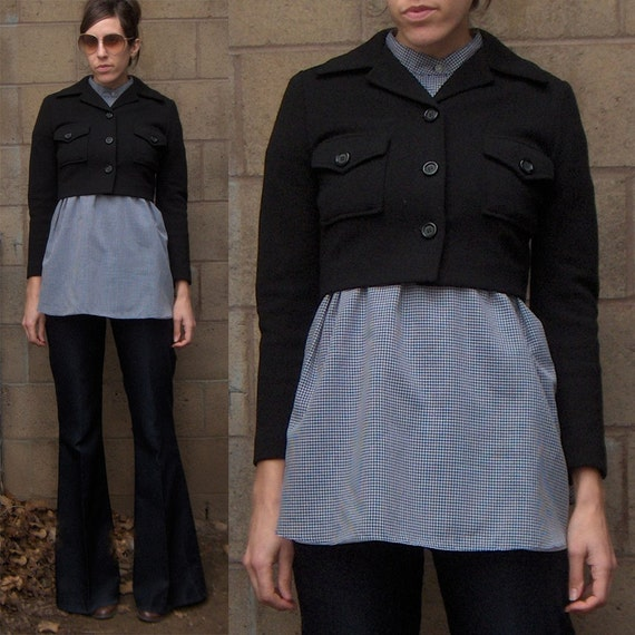 Vintage 1970s FITTED Cropped Black Jacket