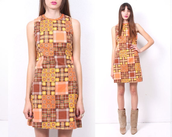 Fran Patchwork 70s Mini Dress