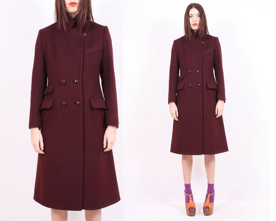 SALE - Bordeaux Wool 70s  Coat