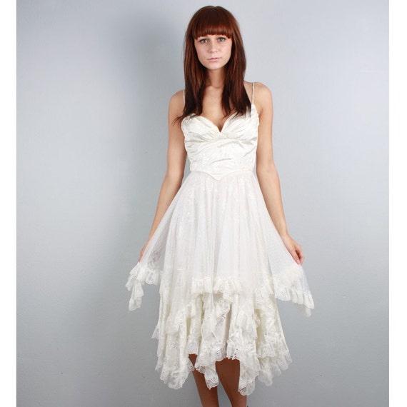 vintage 80s white lace madonna dress
