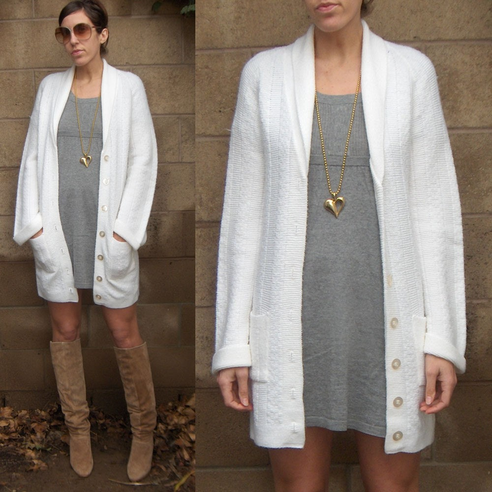 vintage 1970s Long White Cardigan Sweater