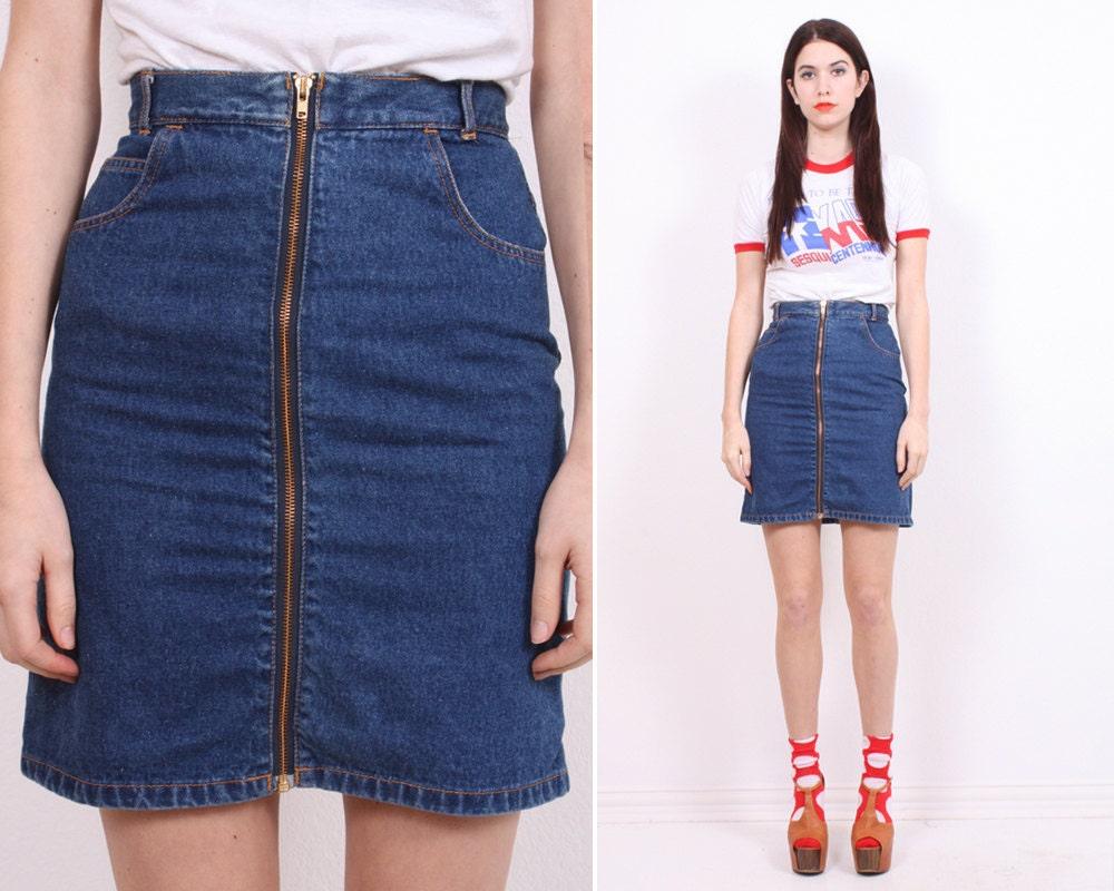 high waist zipper denim skirt by phantomloverclothing on etsy