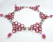 Chainmaille Anklet in Valentine's Day Red and Pink - Belly Dance Jewelry