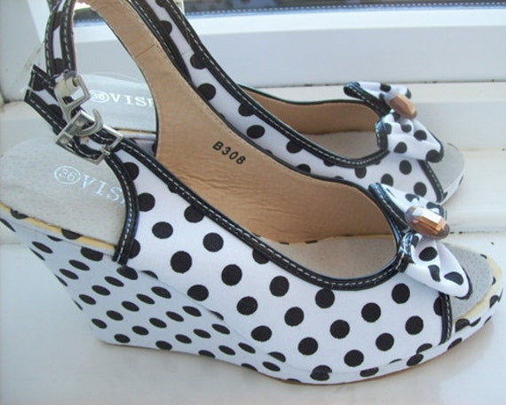 polka dot rockabilly wedge shoes small size 36 uk 3 us 6