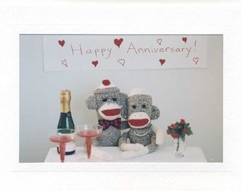 Sock Monkey Happy Anniversary card