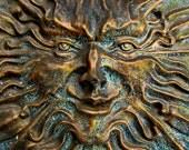 face . bronze sculpture spring garden decoration fine art photography . 8 x 10 print