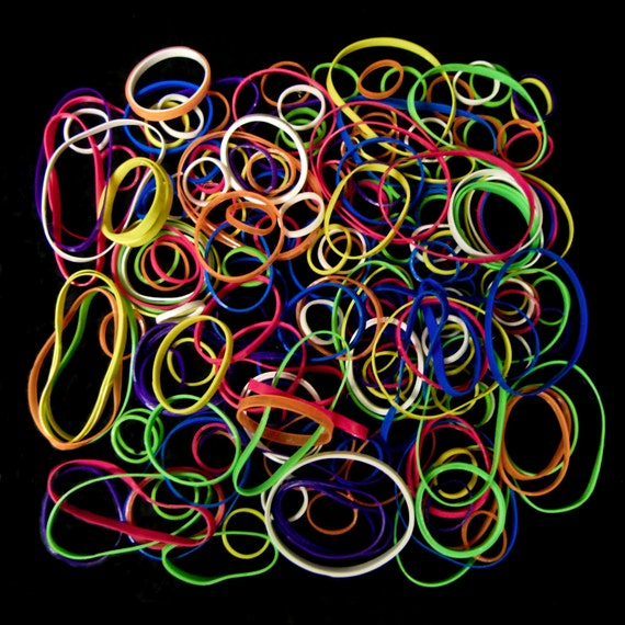 brightly colored rubber bands fine art photograph . 8 x 8 print