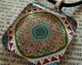 Teal Celtic Mandala Pendant