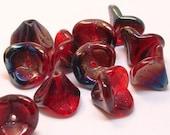 Czech Bell Flower Bead Ruby Red Azuro 9mm FB-123