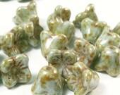 Small Czech Flower Beads 4 Petals Soft  Blue Picasso Finish FB-202