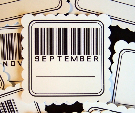 MONTHLY BARCODE white date tags for scrapbooking