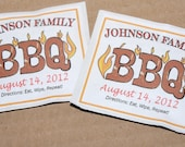 BBQ party favor moist towelette personalized