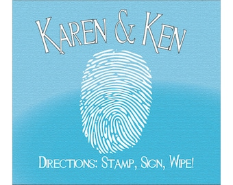 Personalized Fingerprint wipes  For your guest book or tree print