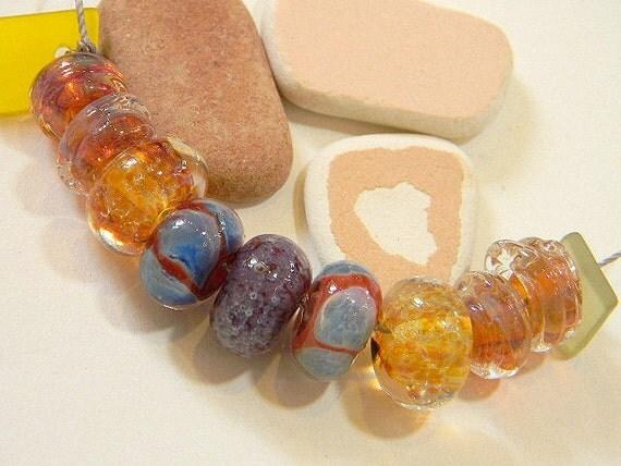 Handmade Lampwork Beads PUEBLO II by Two Sisters Designs