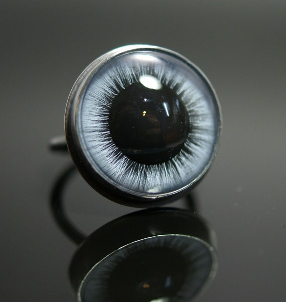 Carousel horse eye ring set in Argentium silver and fine silver