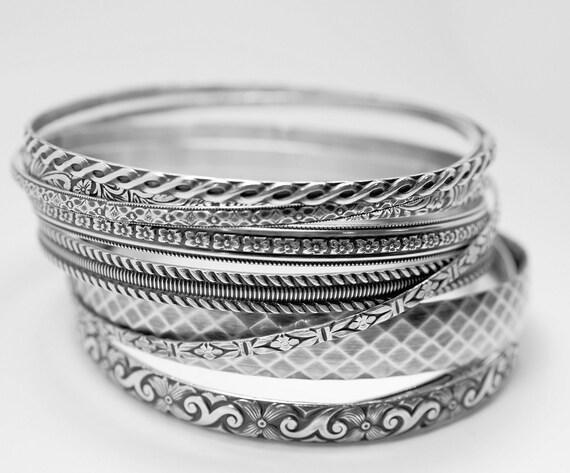 9 bangle patterned bangle bracelets made from Sterling silver