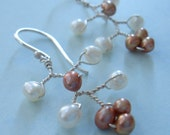 RESERVED for jenjenking - Cherry Blossom Chandelier - White and Champagne - Earrings