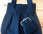 Custom Order reserved for bea001, Black Linen Bag and Clutch