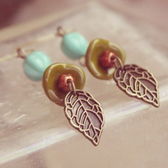 Earthy Teal and Green Leaf earrings