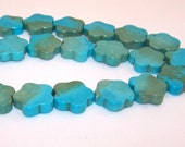 SALE Turquoise Flowers 20mm 8pcs