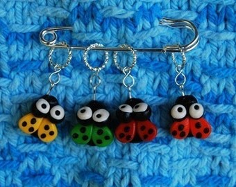 Lady Bug knitting or crochet stitch markers - set of 4 - polymer clay