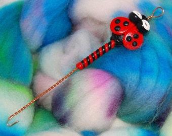 Ladybug Spinning Wheel Orifice Hook - polymer clay