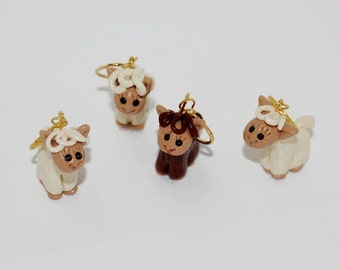 Alpaca knitting or crochet stitch markers - set of 4 - polymer clay
