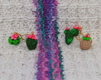 Cactus knitting or crochet stitch markers - Set of 4 - polymer clay