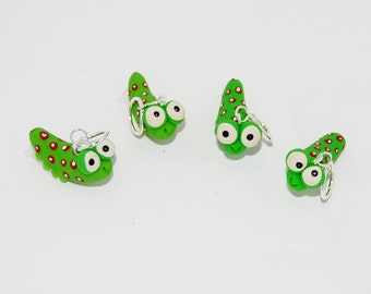 Cute Silk Worms knitting or crochet stitch markers - Set of 4 - polymer clay