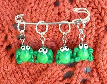 Frog Knitting or Crochet Stitch Markers - Set of 4 - Polymer Clay