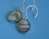 Vintage Map Earrings Oval Sterling Silver Custom Made to Order