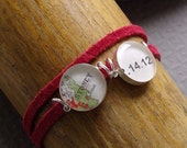 Date Map Bracelet Red Suede Sterling Silver  Choose Your City and Date