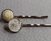 Bicycle Hair Pins Vintage Glass Cabochon Cream and Tan