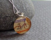 Bicycle Necklace Vintage Ad Sterling Silver Gift for Cyclist