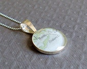 Map Necklace Fishers Island New York  Sterling Silver Vintage Atlas