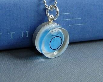 Blue Level Necklace Bubble Vial Carpenter's Pendant Sterling Silver