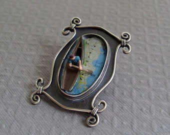 Map Brooch Paddling to Patagonia   3D Scene Stealer in Sterling and Resin Tiny Camp Canoe and People